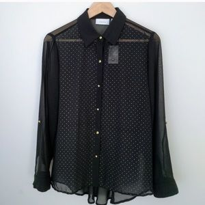 CHICO'S Sheer Gold Studded Button-up Blouse